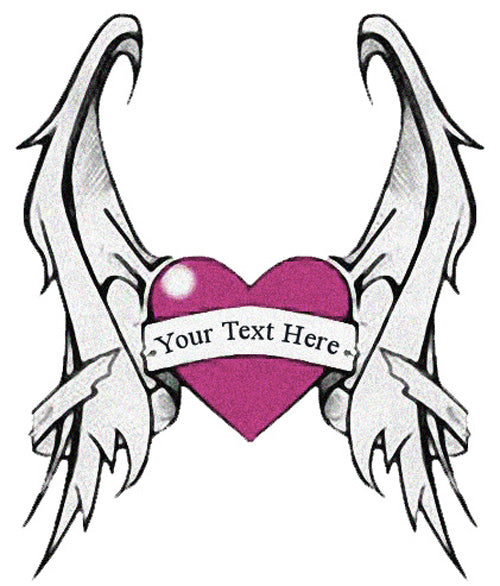 Add Custom Text Heart With Wings Tattoo