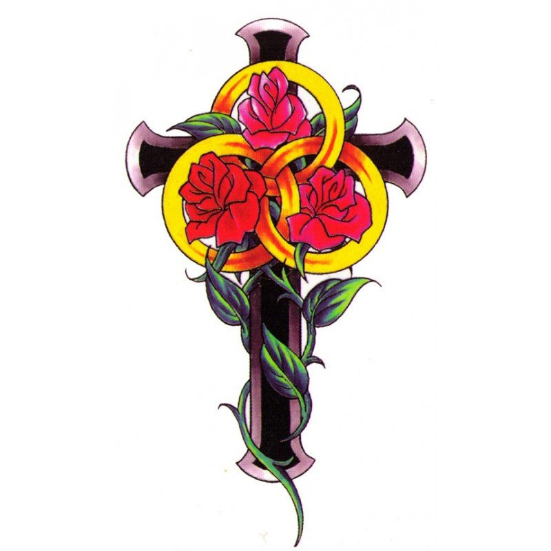 Cross Rose Fake Tattoo