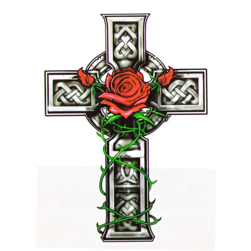 Rose Cross Temporary Tattoo