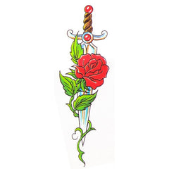 Sword Rose Temporary Tattoo