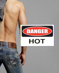 Danger Hot Caution fake tattoo
