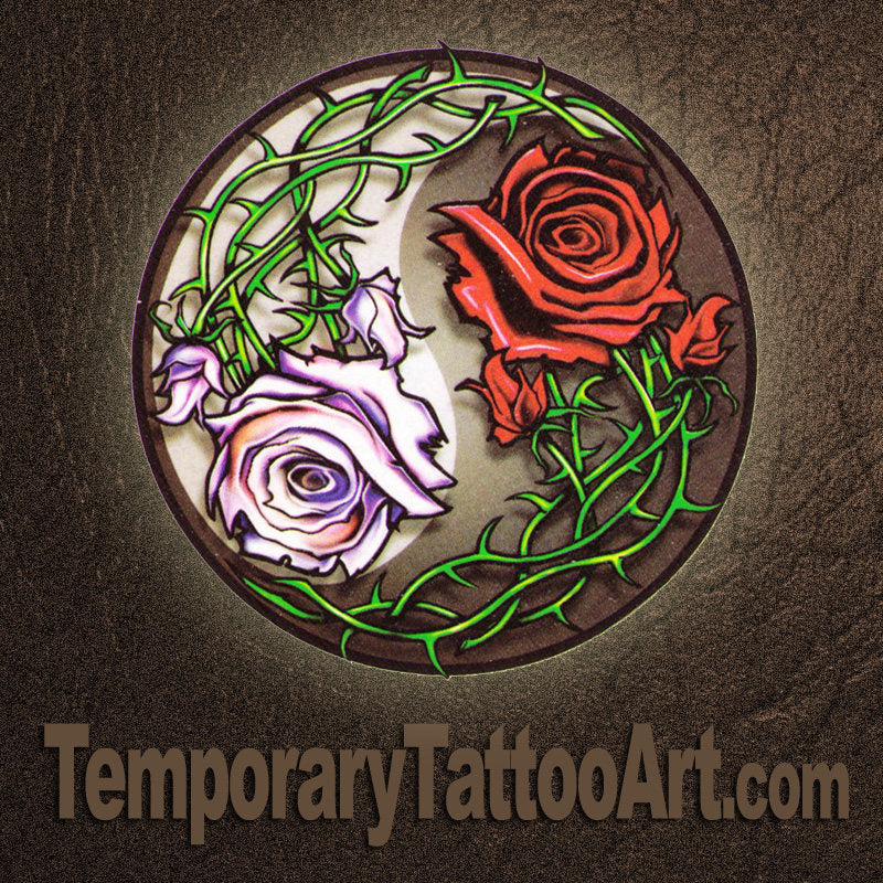 Fake Tattoo Rose Ying Yang