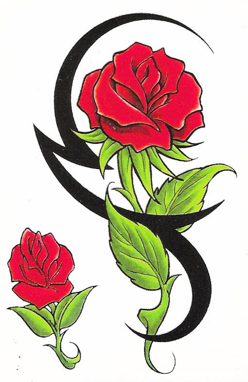 Tribal Temporary Tattoo Rose