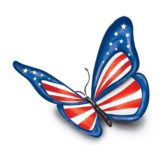 USA Flag Butterfly Fake Tattoo