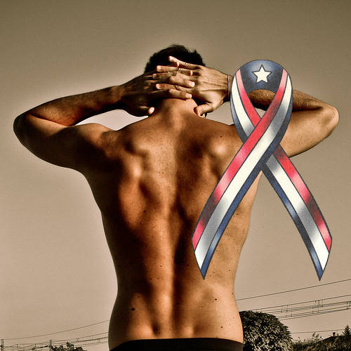 American Ribbon Flag Fake Tattoo
