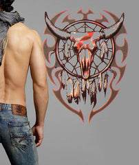 Tribal Bull Skull Fake Tattoo