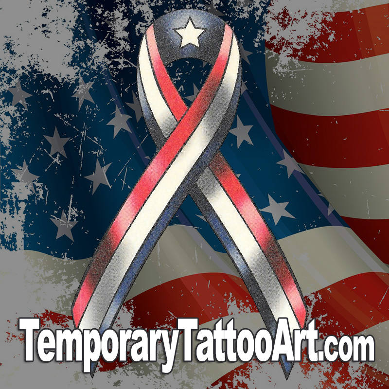 American Ribbon Flag Temporary Tattoo