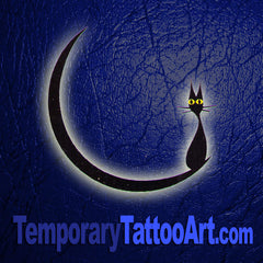 Moon Cat Temporary Tattoo