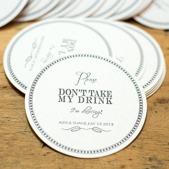 Wedding Coasters Custom Personalized Drink Coaster