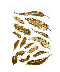 Metallic Gold Temporary Tattoo Feathers