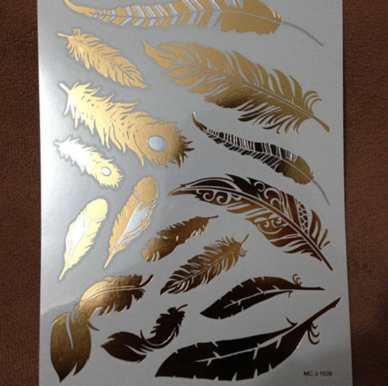 Gold Temporary Tattoo Design Feathers