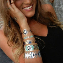 Temporary Tattoo Henna Teal Armband
