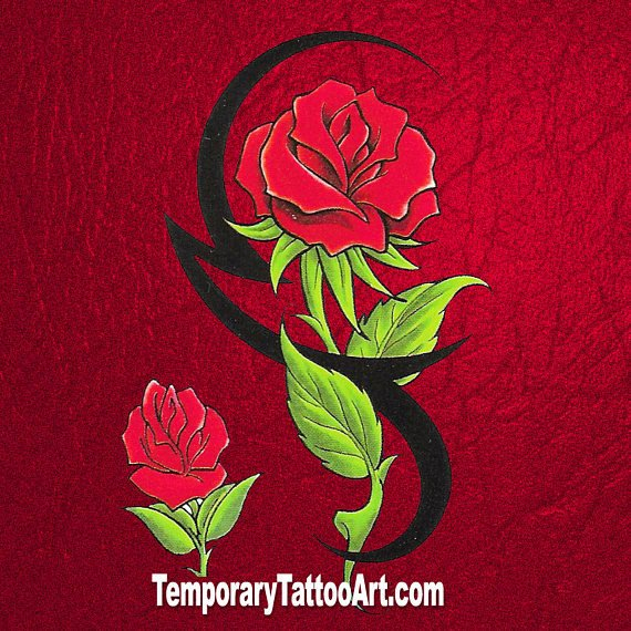 Fake tattoo tribal rose