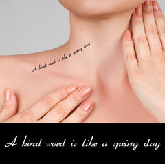 Motivational Quotes temporary tattoos A kind word is like a spring day