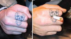 Skull smoking temporary tattoo