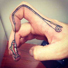 Fishing rod temporary tattoo