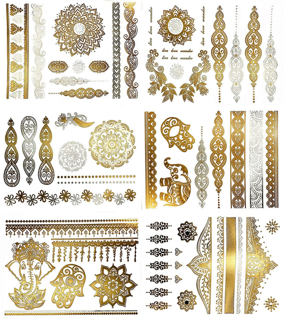 Henna Fake Tattoos Metallic gold