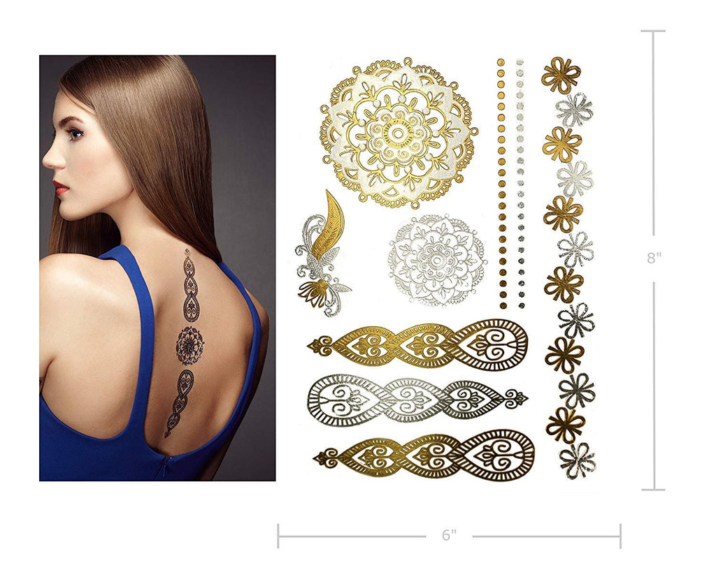 Henna Temporary Tattoos Metallic gold silver 75 designs