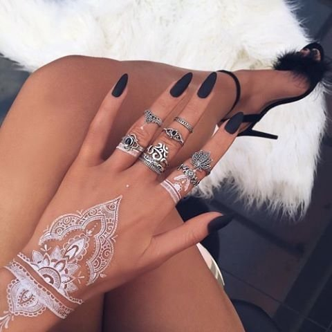 White Henna Temporary Tattoos