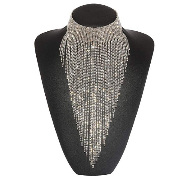 Silver Gold Crystal Necklace for Women Tassel Collar Novelty