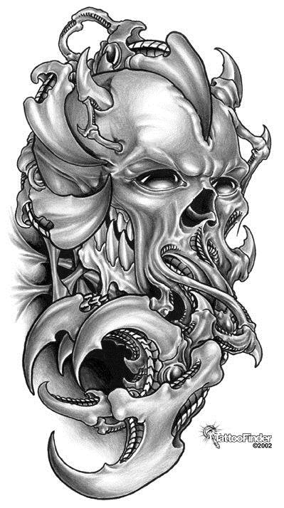 skull collage black and white tattoo