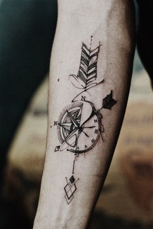 clock arrow tattoo