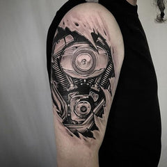 robot collage tattoo