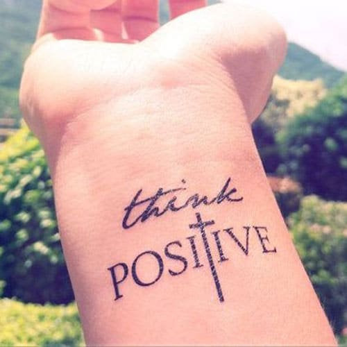think positive tattoo
