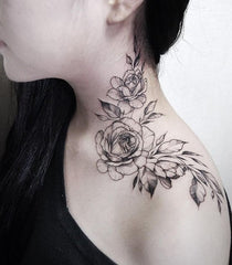 simple neck flower tattoo