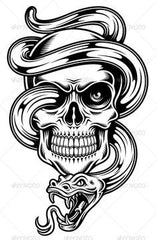 Skull snake temporary tattoo