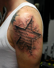star with words tattoo