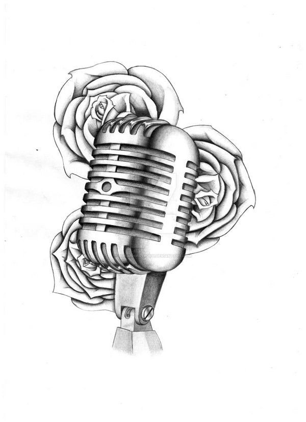 Microphone tattoo design