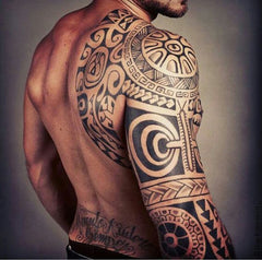 the rock arm abstract colorful design collage tattoo art