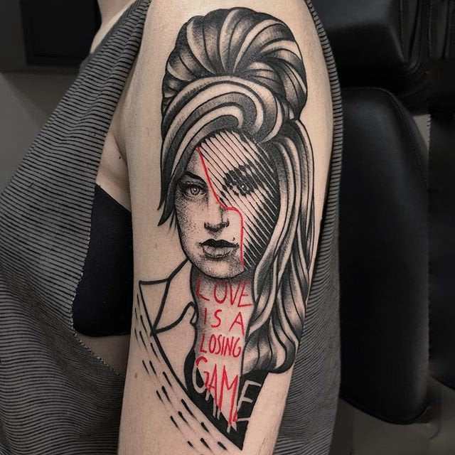 retro woman tattoo