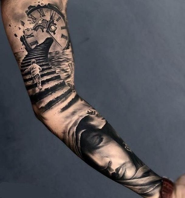 arm abstract black design collage tattoo art
