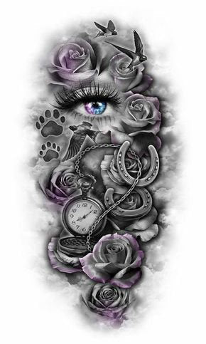 eye abstract black design collage tattoo art