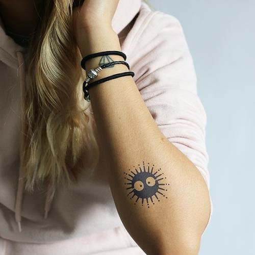 Funny Cartoon Sun Temporary Tattoo