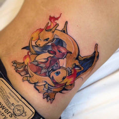 Collage dragon cartoon tattoo