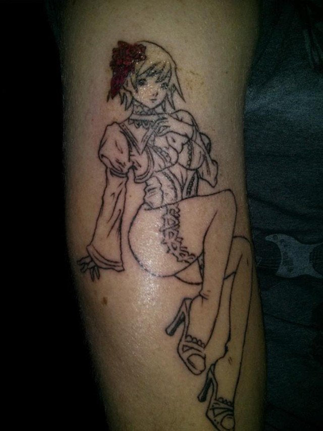 Anime girl tattoo design