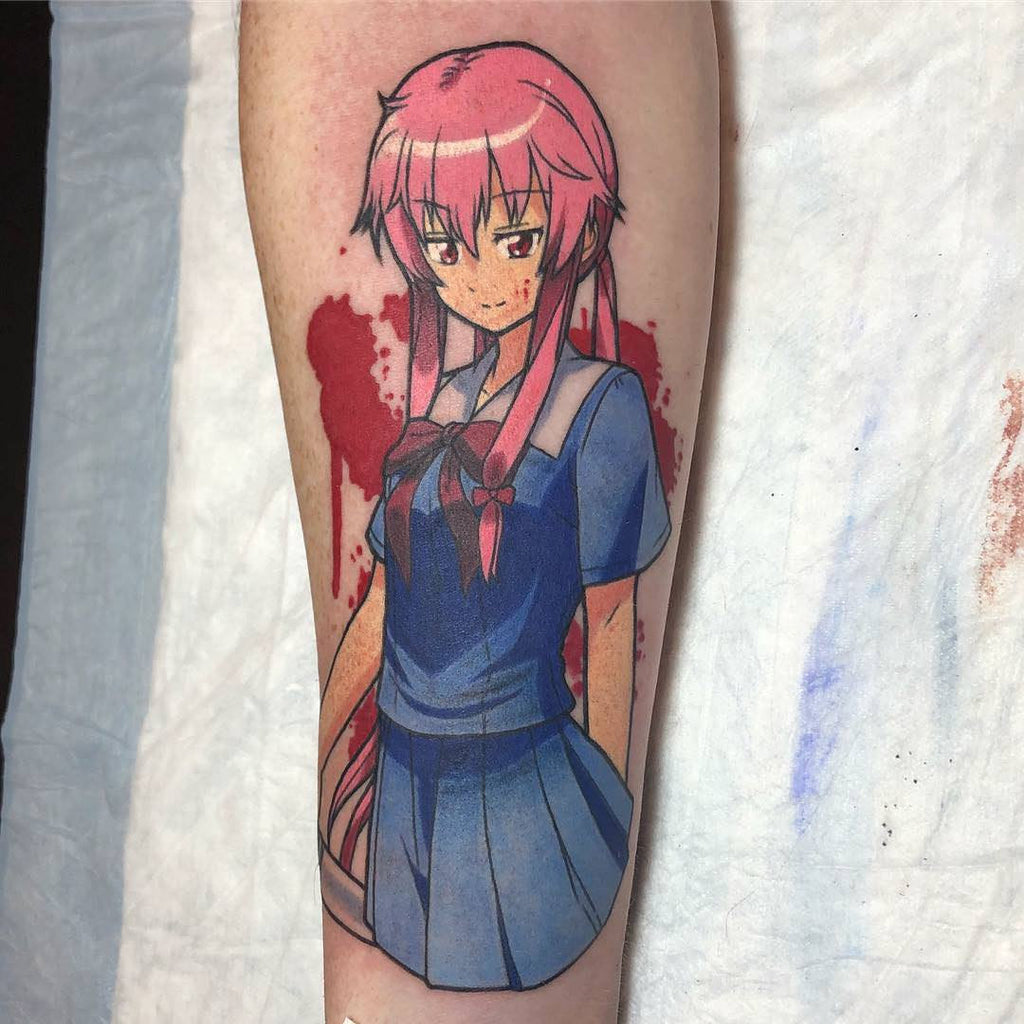 pink hair girl tattoo