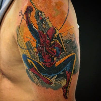 spiderman swinging tattoo