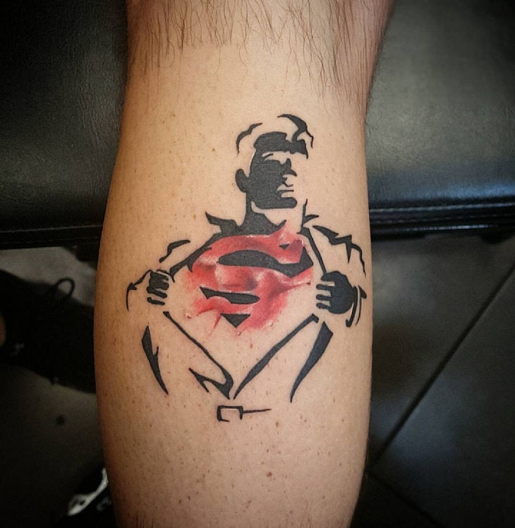 superman silhouette tattoo