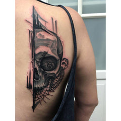 skull back abstract colorful design collage tattoo art