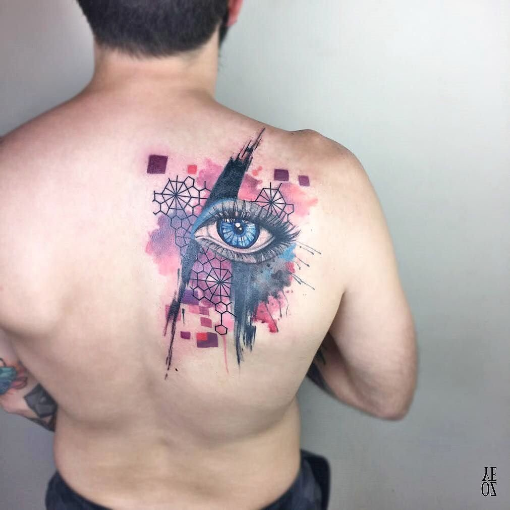 eye back abstract colorful design collage tattoo art