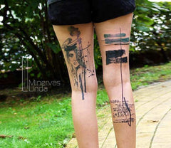 collage back leg woman tattoo