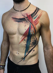 Guy abstract colorful tattoo photo