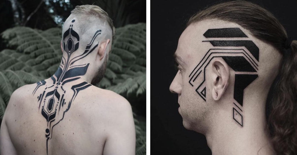 Full head abstract colorful tattoo photo