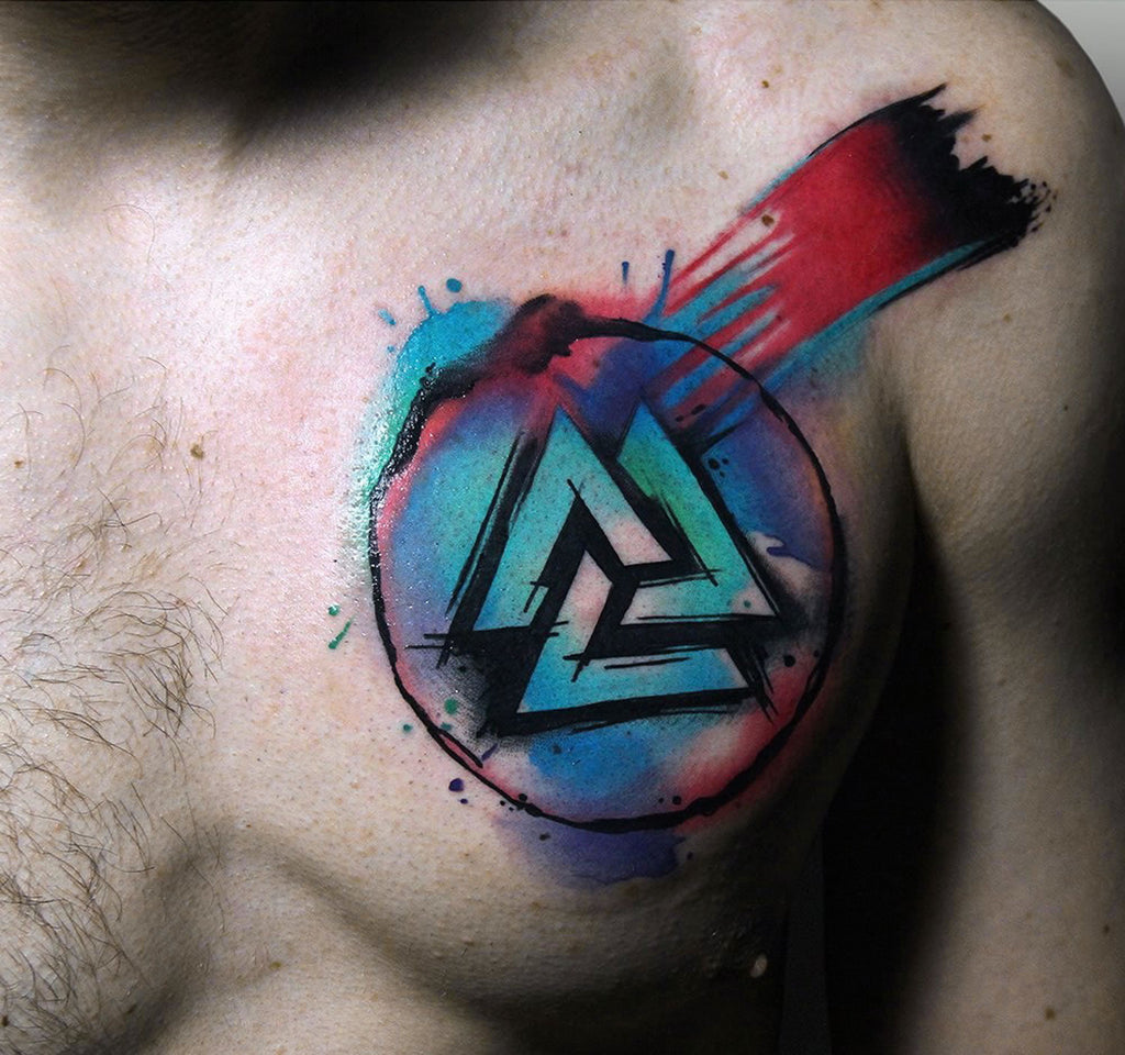 chest abstract colorful design collage tattoo art