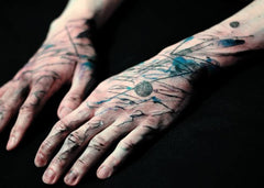 hand arm abstract colorful design collage tattoo art