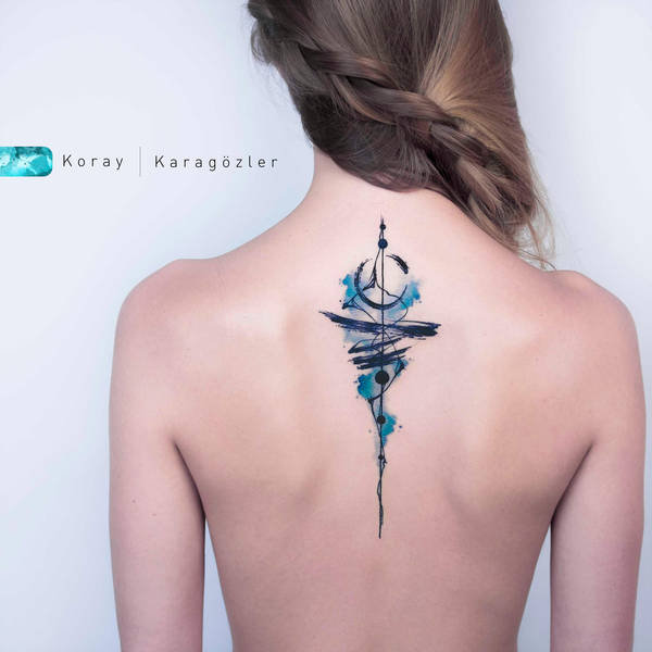 back abstract colorful design collage tattoo art